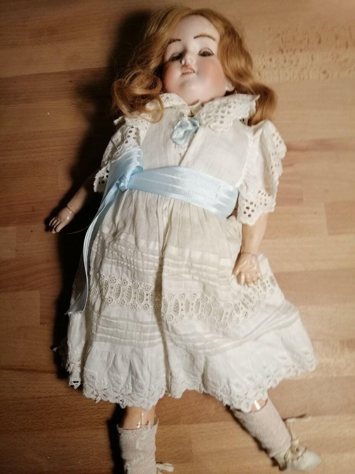 Hermosa Vintage Completa Armand Marseille 18  390 A-4-M - cabeza de Biscuit muñeca de madera