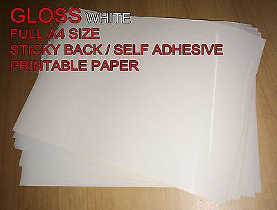 20x A4 White [Gloss] Self Adhesive Sticker Paper Sheet Address Label UK