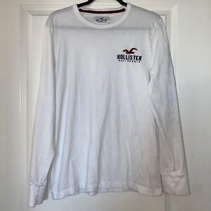 Mens-Hollister-white-long-sleeve-logo-t-shirt-sz-M-Medium