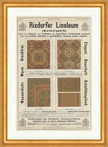 rixdorfer linoleum korkteppich werbeanzeigen coloriert muster holzstich e 10602 ebay. Black Bedroom Furniture Sets. Home Design Ideas