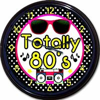 Eighties 80s Totally Eighties Wall Clock Sun Glasses Tape Deck Music 10