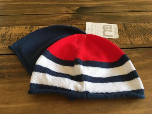 Mothercare Twin Pack Red Blue White Hat  1-3 Months  Bnwt
