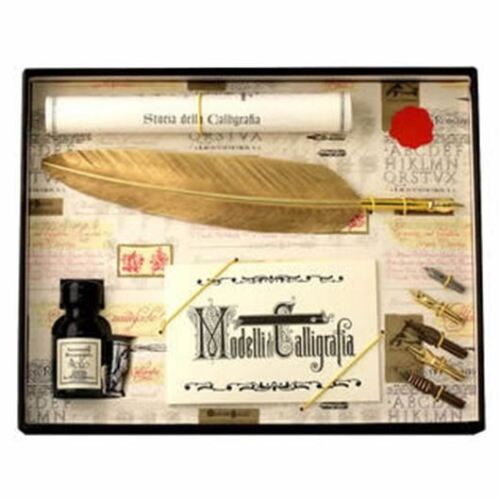 Calligraphy Set Great Gift 7260GL Gold Feather Quill /& 5 Nib Set