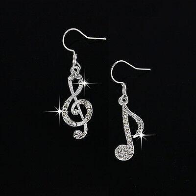 Fashion Women's Music Drop Earrings Crystal Dangle Earrings Jewelry Accessories