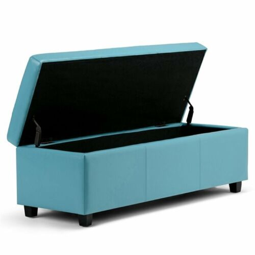 Simpli Home Avalon Faux Leather Storage Bench in Blue