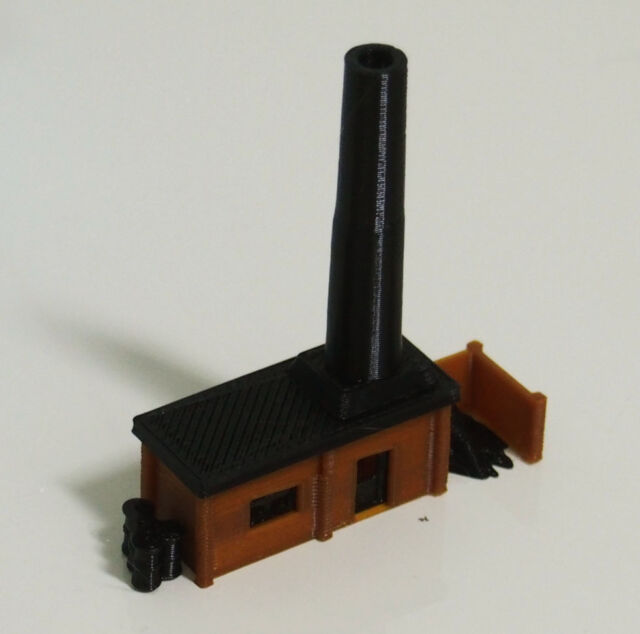 64f1ede75f80 Outland Models Railway Miniature Small Boiler House With Chimney N Scale 1  160