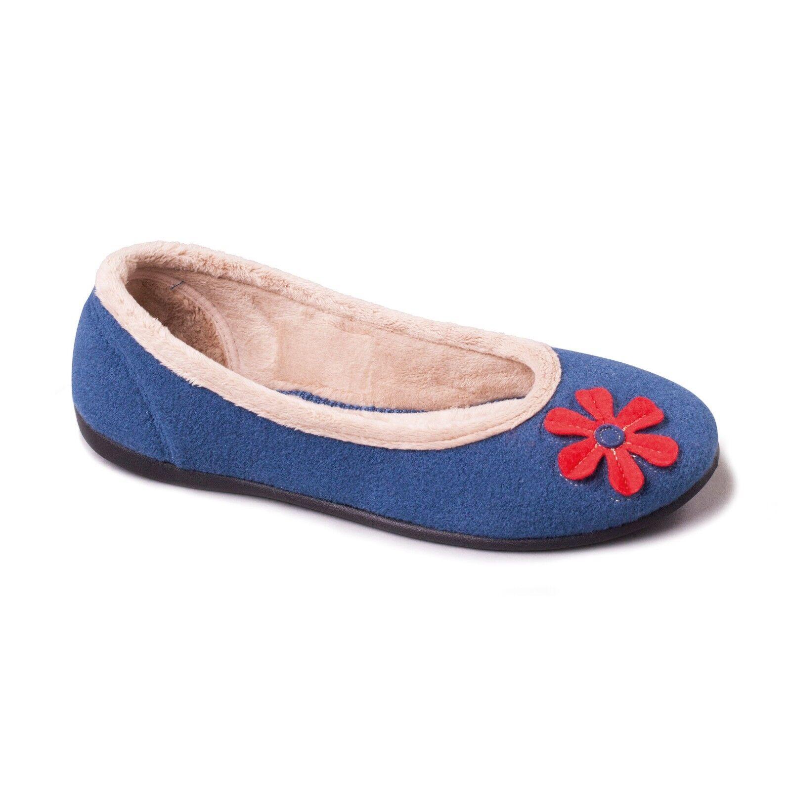 Padders HAPPY Ladies Ballerina Memory Foam Extra Wide E Fitting Slipper Blue