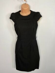 Damen WAREHOUSE UK 6 anthrazit Nadelstreifen Cap-Fitted Bleistift Arbeit Kleid