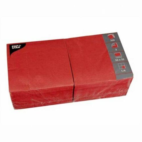 Servilletas rojo 1//4 reborde 33 x 33 CM 250 unidades 3-capas