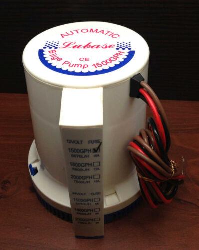 "Marine Boat 1500 GPH ABS Automatic Bilge Pump 12V Straight Hose Adaptor 1 1//8/"""