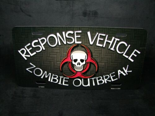 ZOMBIE METAL NOVELTY LICENSE PLATE TAG FOR CARS ZOMBIE OUTBREAK RESPONSE VEHICLE