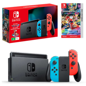 Nintendo Switch Neon Joy-Con Mario Kart 8 Deluxe Console Bundle NEW
