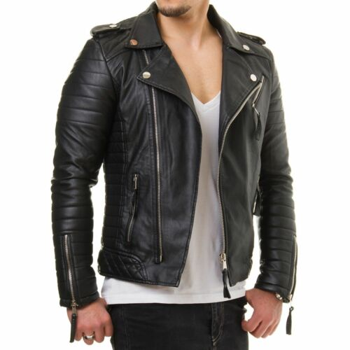 Men Genuine Lambskin Leather Jacket Motorcycle Black Slim fit Biker jacket