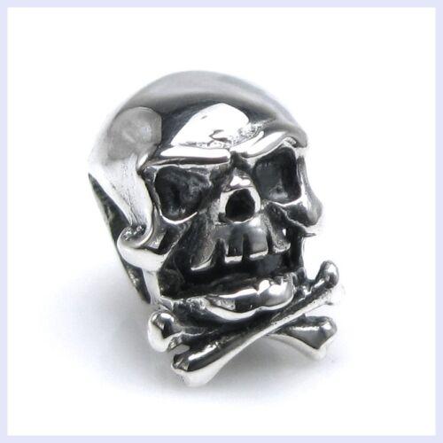 Sterling Silver Squelette Crâne Os Halloween Bead for European Charm Bracelet