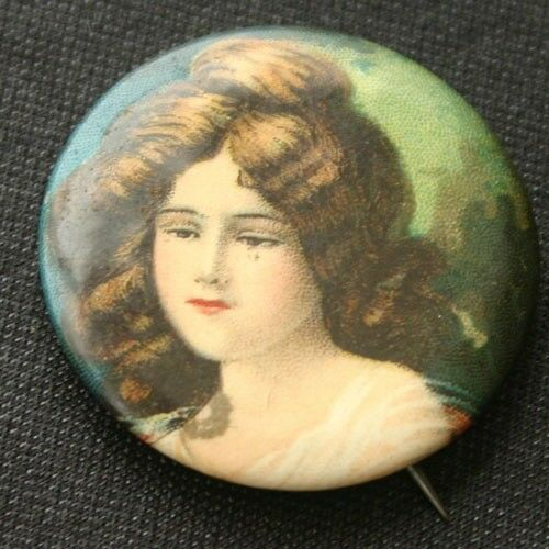 Edwardian Beauty Pinback Button 1910s