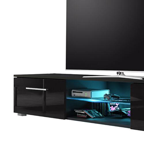 TV-Lowboard SYVIS Holzoptik Weiß Schwarz Grau Matt Hochglanz LED in Blau 140 cm