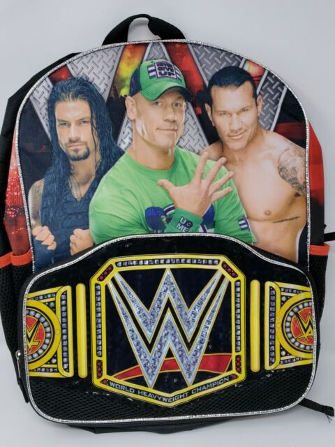 WWE John Cena Roman Reigns Randy Orton Large Backpack Book Bag Tote NWT FAST