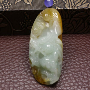 Certified-Grade-A-100-Natural-Brown-Green-Jadeite-Jade-Pendant-Dragon-Y5948
