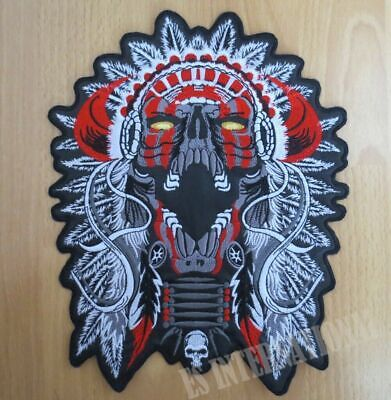 Skull Riders Large Biker Jacket Back Sew on Hand Made Embroidered Patch Appliqu\u00e9