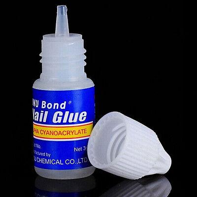 3 Bottles Acrylic Nail Art Glue French False Tips Manicure Tool Fake Nails Glue