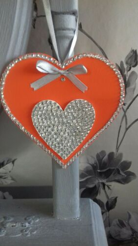 Orange and Silver Wooden Hanging Heart Decoration Ornament Any Colours