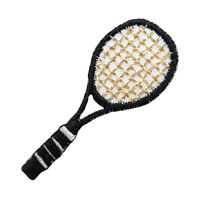 ID 1557 Black Tennis Racket Racquet Sports Embroidered Iron On Applique Patch