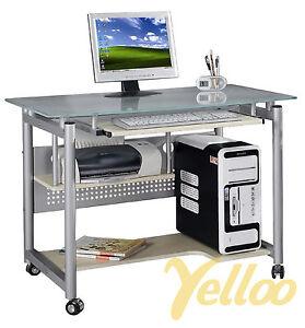 TAVOLO-SCRIVANIA-DESIGN-Postazione-UFFICIO-Vetro-Con-RUOTE-Computer-PC-Mod-WHEEL