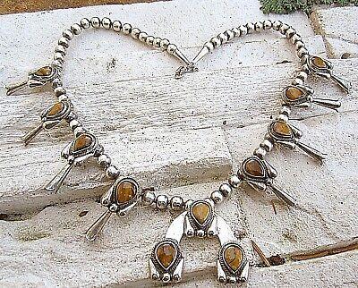 Ausgefallene Squash Blossom Collier Kette Amulett Mit Tigerauge Native Top