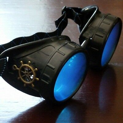 Steampunk goggles glasses welding diesel punk biker goth cosplay rave lens rsw