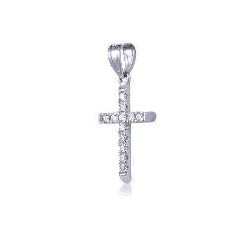 Cubic Charm Details about  /14K Solid White Gold CZ Cross Pendant Singapore Chain Necklace Set