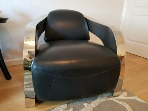Aviator black leather and polished steel accent chair