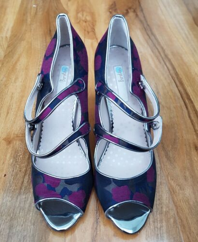 BODEN LADIES Cordelia Floral Print Satin High Heel Shoes EU 42 UK 8.5 BRAND NEW.