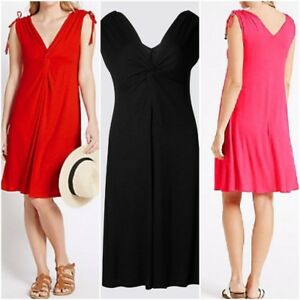Ex-M-amp-S-knot-front-Sleeveless-Beach-Dress-Size-8-22-BLACK-RED-PINK