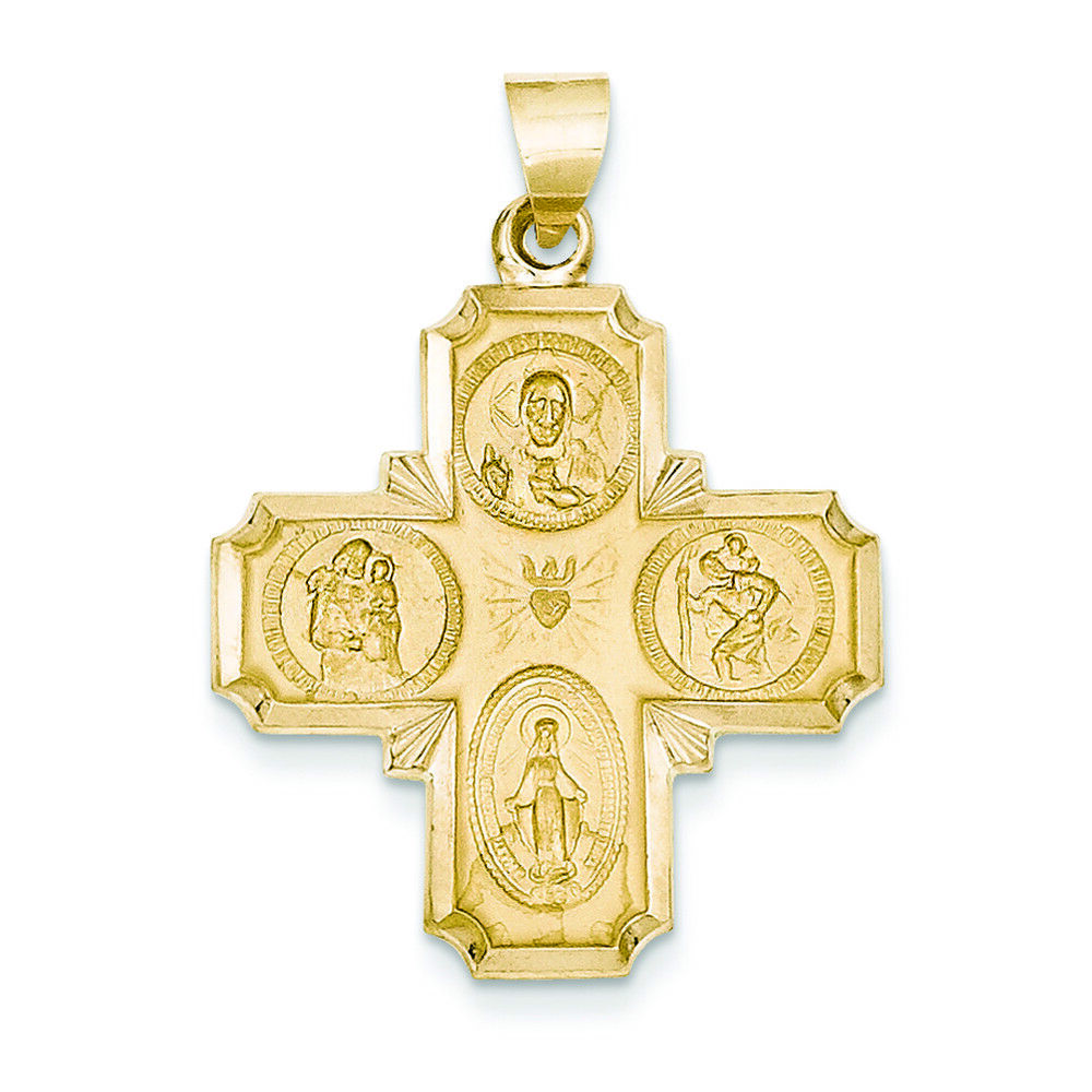 14K Yellow gold Four Way Medal Charm Pendant MSRP  396