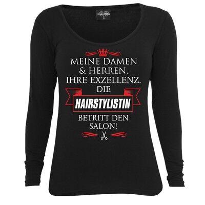 Donne Manica Lunga Top La Loro Eccellenza La Hairstylistin Barbiere Parrucchiera Disoccupata-