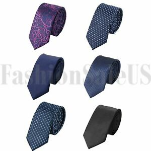 Skinny-Slim-Striped-JACQUARD-WOVEN-Fashion-Wedding-Men-039-s-Party-Suits-Tie-Necktie