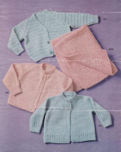 Baby Easy Knit Cardigans  x 3 /& Blanket pattern in 4 ply Knitting Pattern