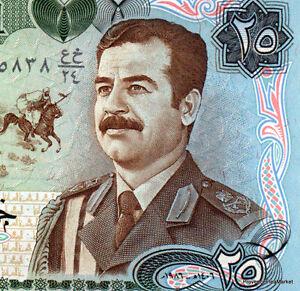 IRAK-billet-neuf-de-25-SWISS-DINARS-Pick73-SADDAM-HUSSEIN-en-UNIFORME-1986