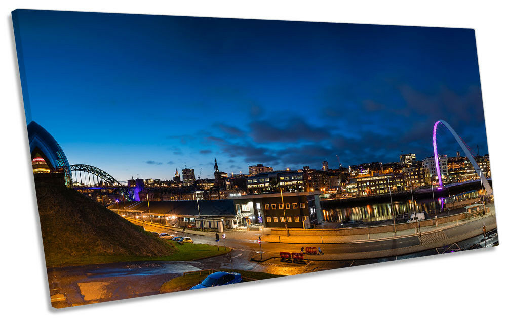 Newcastle Quayside Gateshead Bild PANORAMIC CANVAS Wand Kunst Drucken