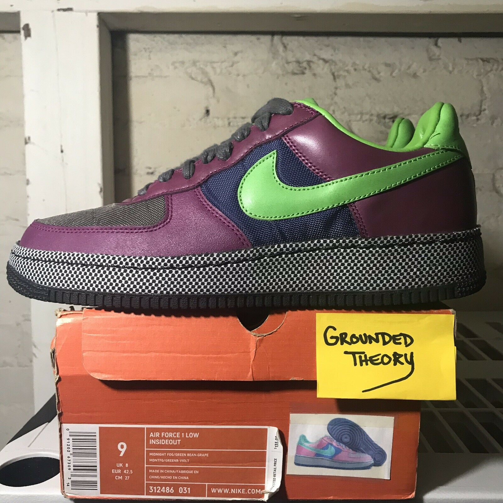 2006 Nike Air Force Low Insideout (312486 -031) Sz  9 Midnight Fog  verdeBean Grape  liquidazione fino al 70%