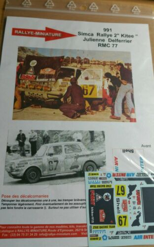 DECALS 1//43 REF 0991 SIMCA RALLYE 2 JULIENNE RALLYE MONTE CARLO 1977 RALLY WRC