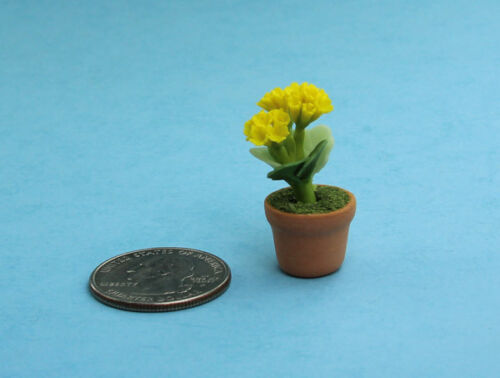 Beautiful 1:12 Scale Dollhouse Miniature Potted Yellow Carnations #FL023