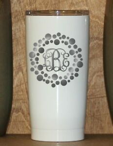 d7278bc18f0 Details about Personalized Powder Coated Tumbler with Laser Engraved Dot  Circle Vine Monogram