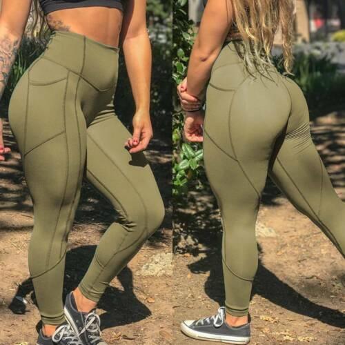 Womens High Waist Tummy Control Yoga Pants Gym Scrunch Leggings Sports Trousers