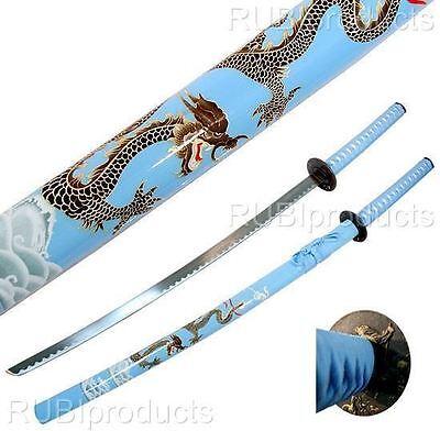 """40"""" Katana Sword Light Blue DRAGON ART Carbon Steel Collectible Samurai Ninja"""