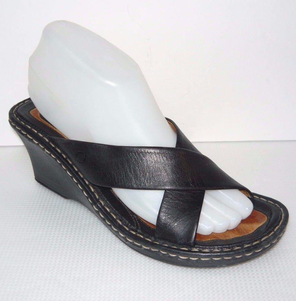 Born Women's Black Double Strap Buckle Leather Wedge Heel Sandals Size  8   39