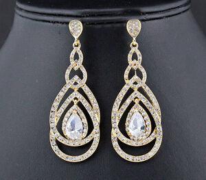 Loops-Austrian-Rhinestone-Crystal-CZ-Chandelier-Dangle-Earrings-Wed-E3512g-Gold