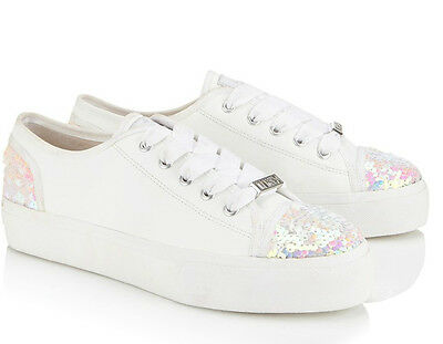 LIPSY SZ 7 / EU 40 AIME WHITE SPARKLE PEARLISED TRAINERS BRAND NEW GREAT PREZZY
