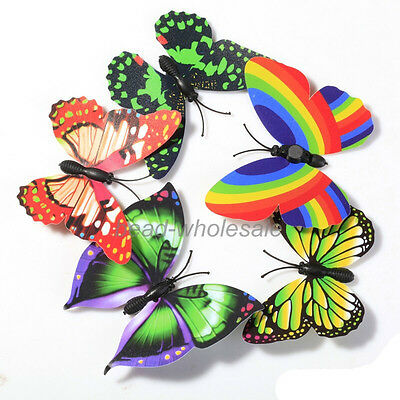 10X 3D Butterfly Fridge Magnets Room Car Wall Decorations Magnetic Crafts U Pick