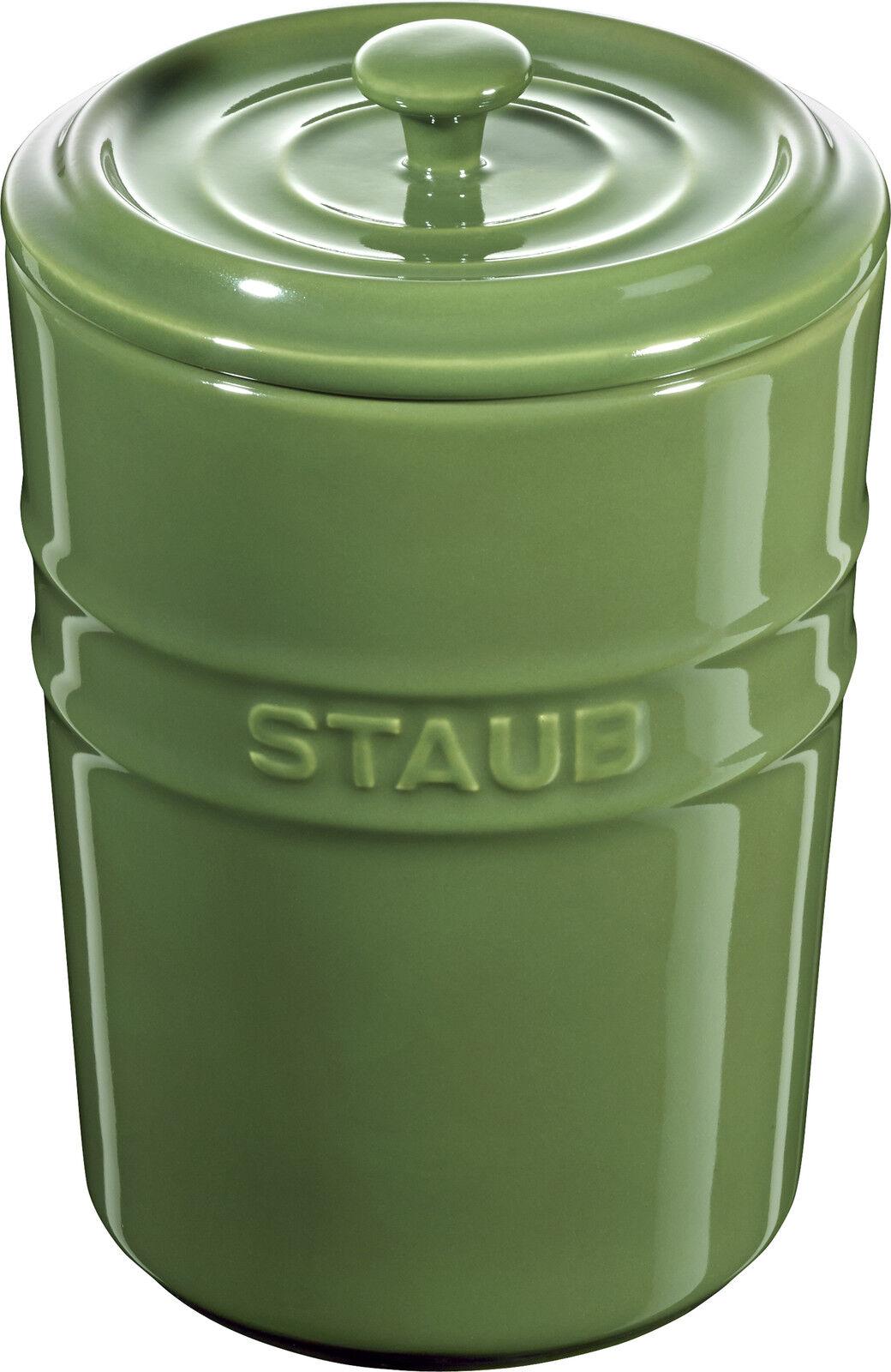 Staub Keramik Aufbewahrungsgefäß Vorratsdose rund Basilikumgrün 1L | Verschiedene Waren